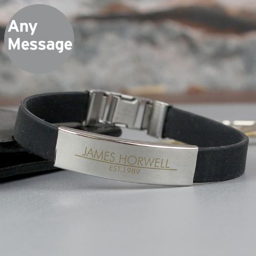 Personalised Classic Stainless Steel Men's Black Bracelet Gift for Birthdays and Fathers Day
